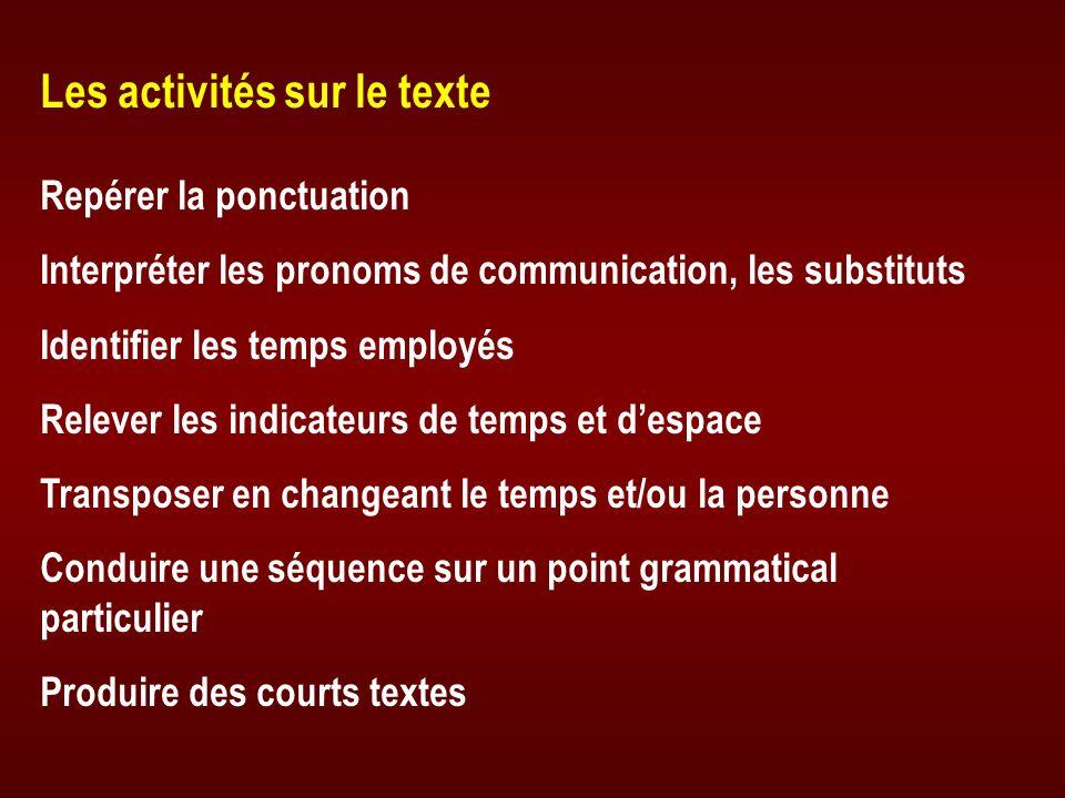 Les activités sur le texte