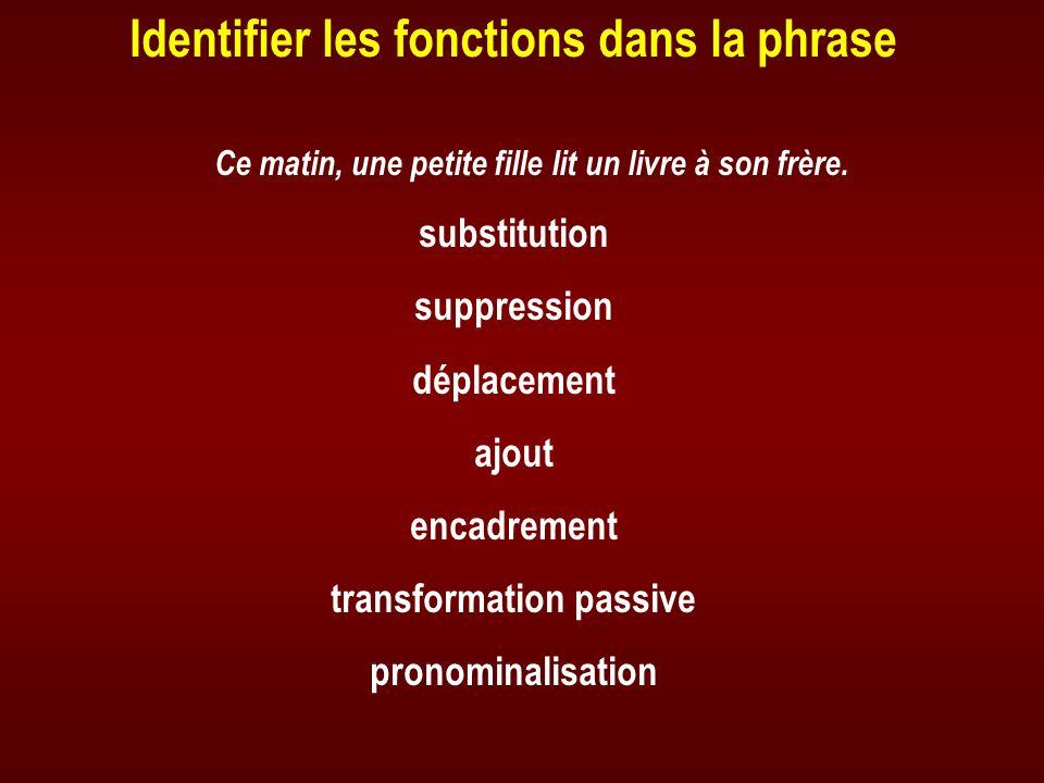 Identifier les fonctions dans la phrase transformation passive
