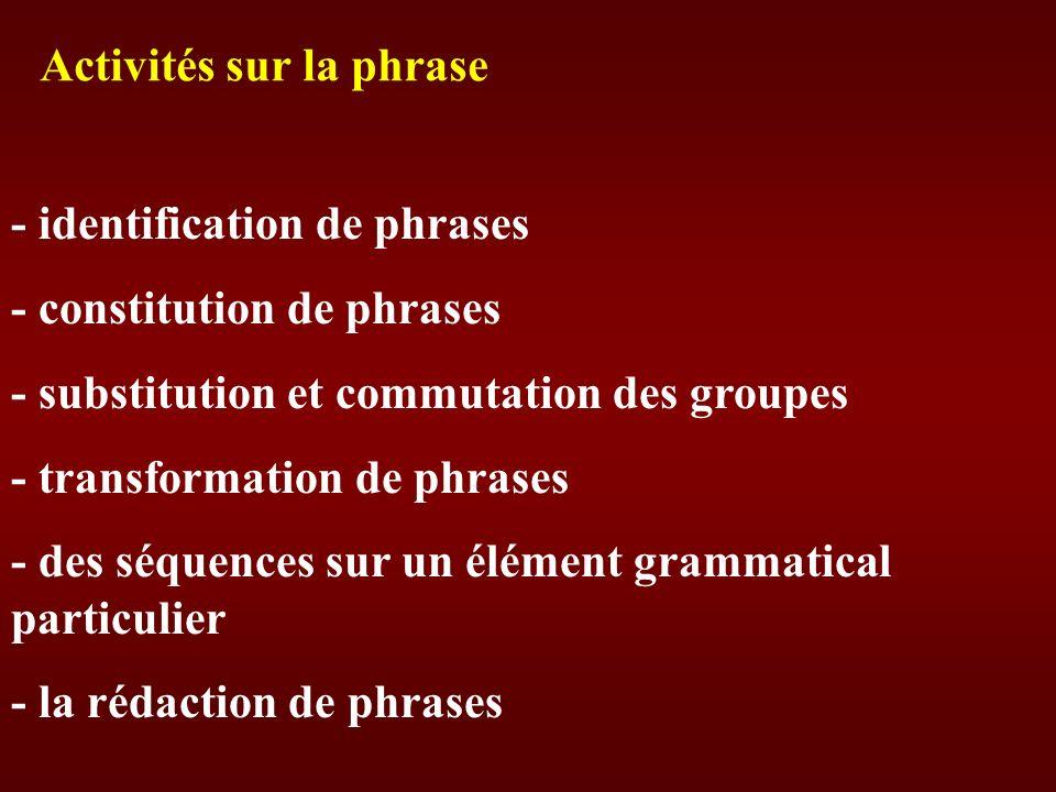 Activités sur la phrase