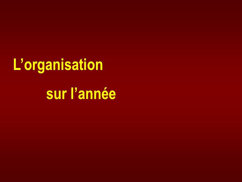 L'organisation sur l'année