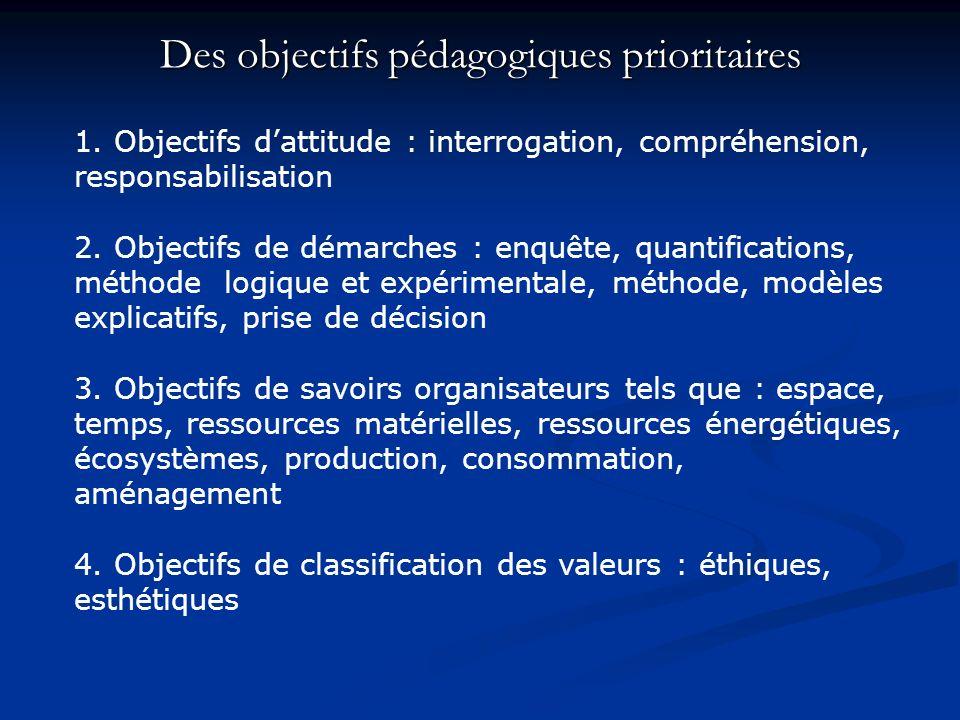 Des objectifs pédagogiques prioritaires