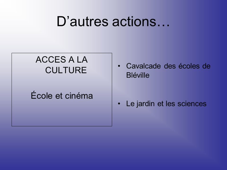 ACCES A LA CULTURE École et cinéma