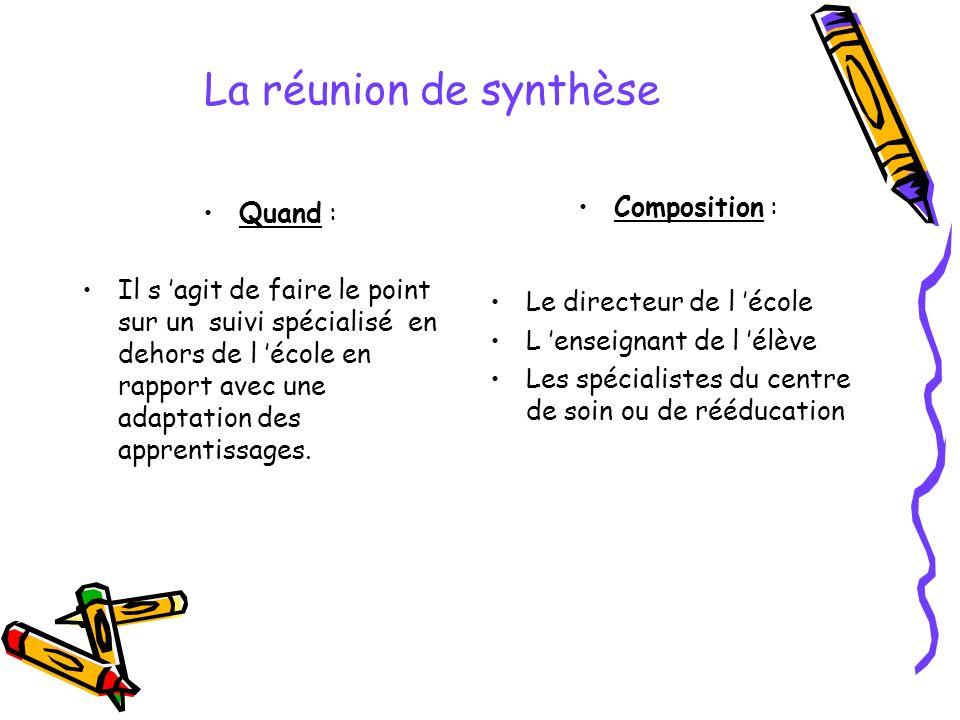 La réunion de synthèse Composition : Quand :