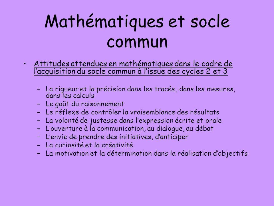 Mathématiques et socle commun