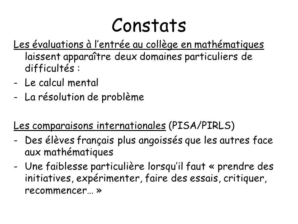 Constats Les évaluations à l'entrée au collège en mathématiques laissent apparaître deux domaines particuliers de difficultés :