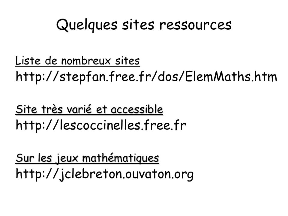 Quelques sites ressources