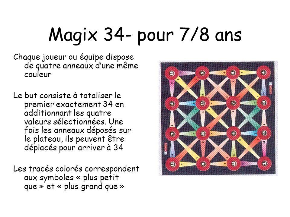 Magix 34- pour 7/8 ans Chaque joueur ou équipe dispose de quatre anneaux d'une même couleur.