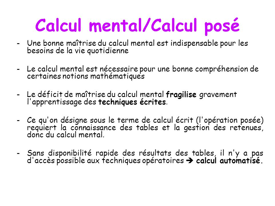 Calcul mental/Calcul posé