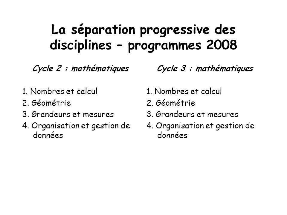 La séparation progressive des disciplines – programmes 2008