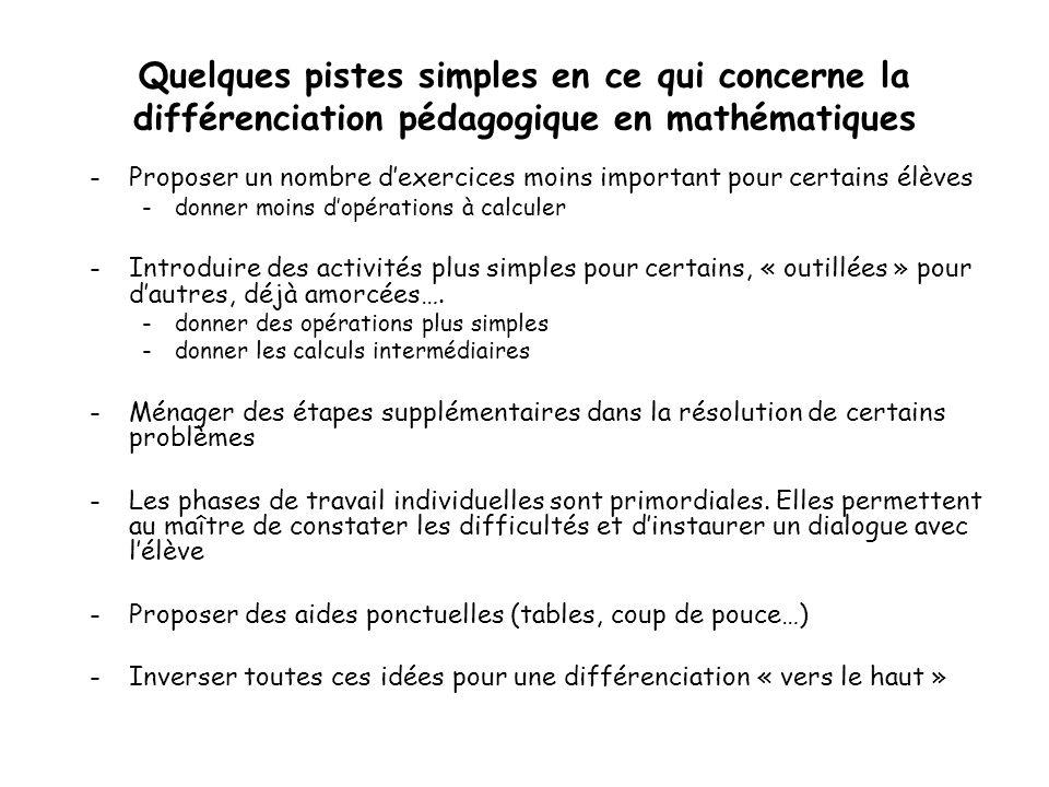 Quelques pistes simples en ce qui concerne la différenciation pédagogique en mathématiques