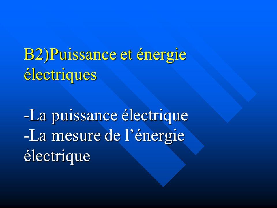 B2)Puissance et énergie électriques -La puissance électrique -La mesure de l'énergie électrique