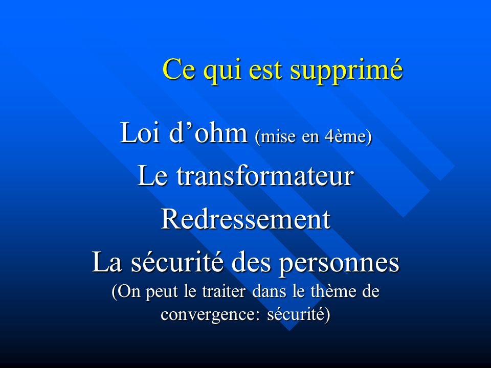 Ce qui est supprimé Loi d'ohm (mise en 4ème) Le transformateur. Redressement.