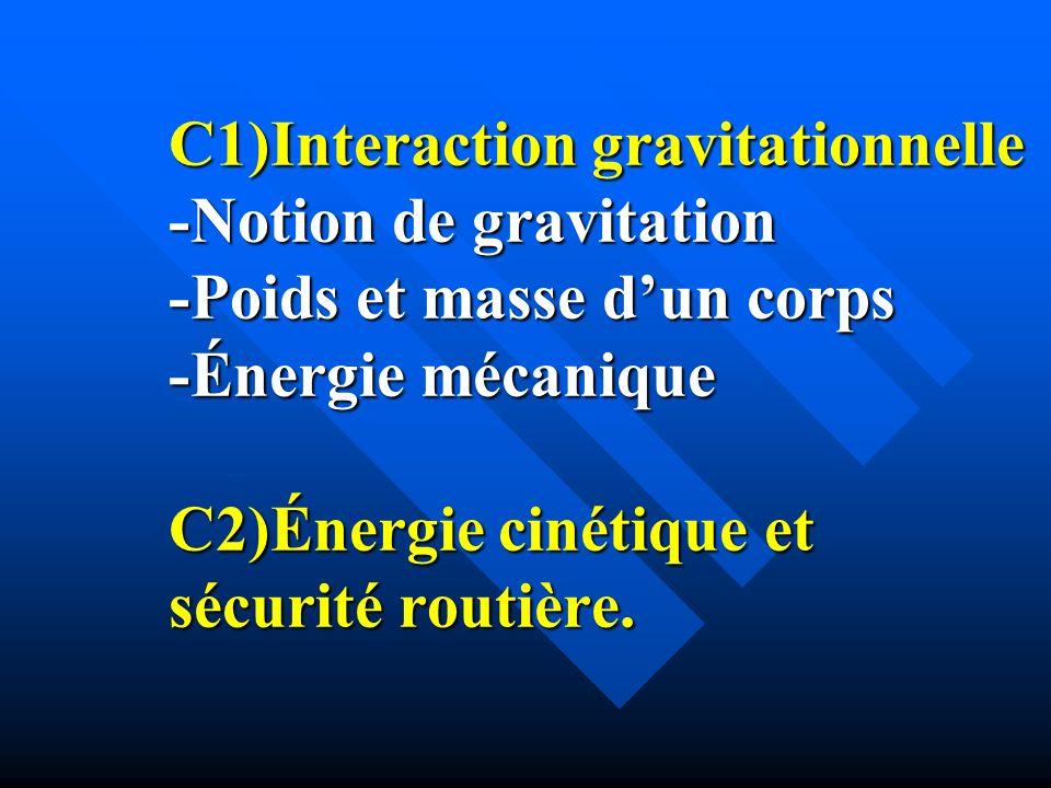 C1)Interaction gravitationnelle -Notion de gravitation -Poids et masse d'un corps -Énergie mécanique C2)Énergie cinétique et sécurité routière.