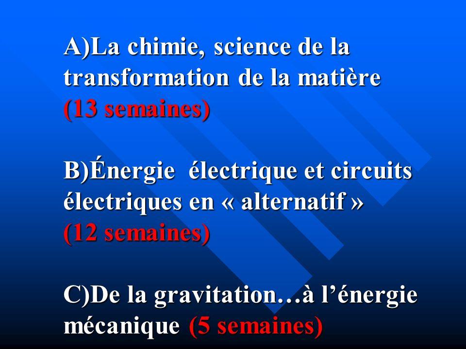 A)La chimie, science de la transformation de la matière (13 semaines) B)Énergie électrique et circuits électriques en « alternatif » (12 semaines) C)De la gravitation…à l'énergie mécanique (5 semaines)