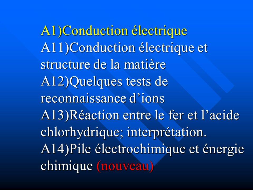 A1)Conduction électrique A11)Conduction électrique et structure de la matière A12)Quelques tests de reconnaissance d'ions A13)Réaction entre le fer et l'acide chlorhydrique; interprétation.