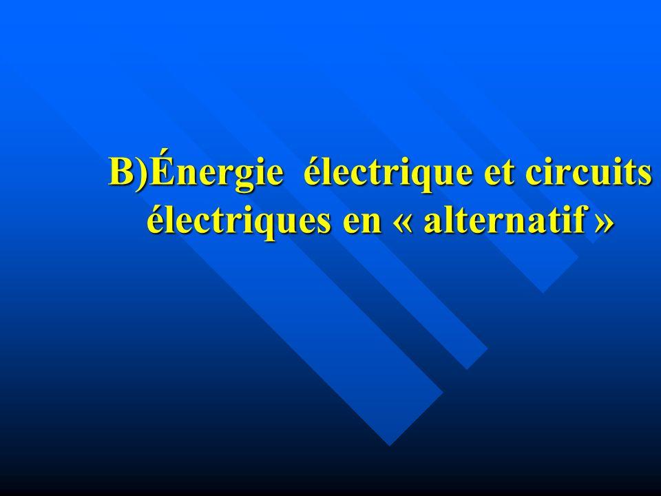 B)Énergie électrique et circuits électriques en « alternatif »