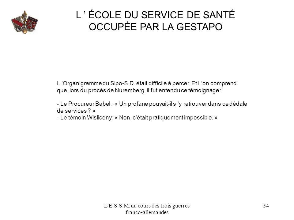 L ' ÉCOLE DU SERVICE DE SANTÉ OCCUPÉE PAR LA GESTAPO