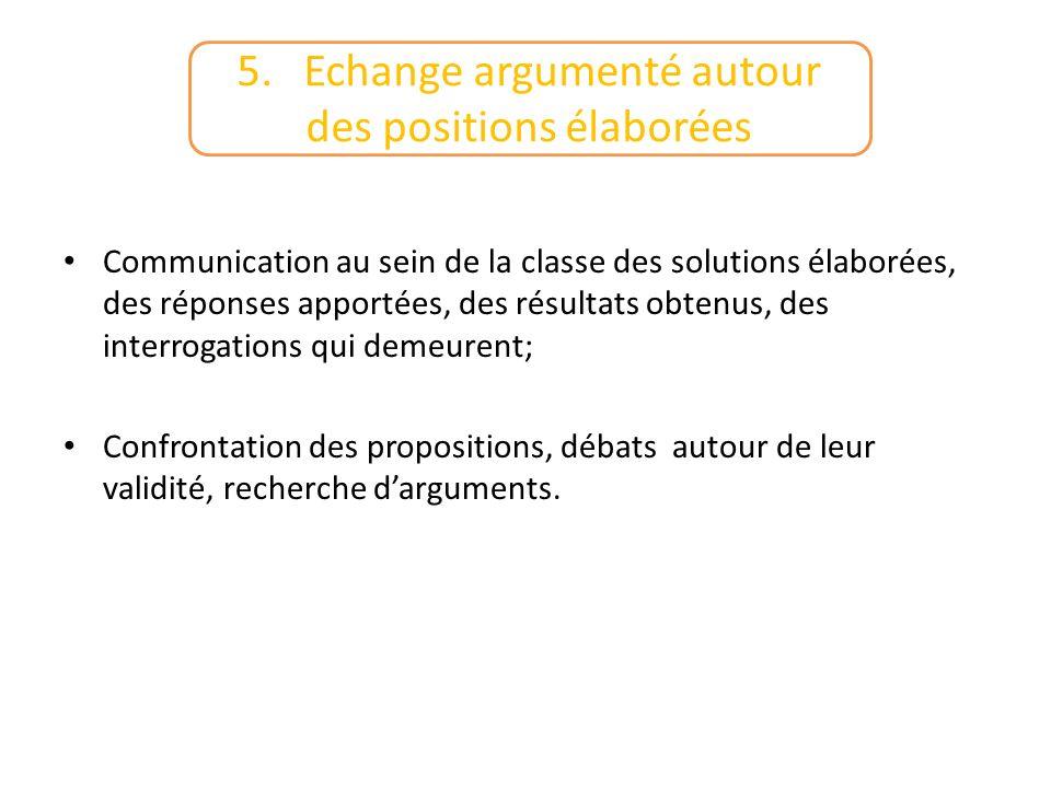 5. Echange argumenté autour des positions élaborées