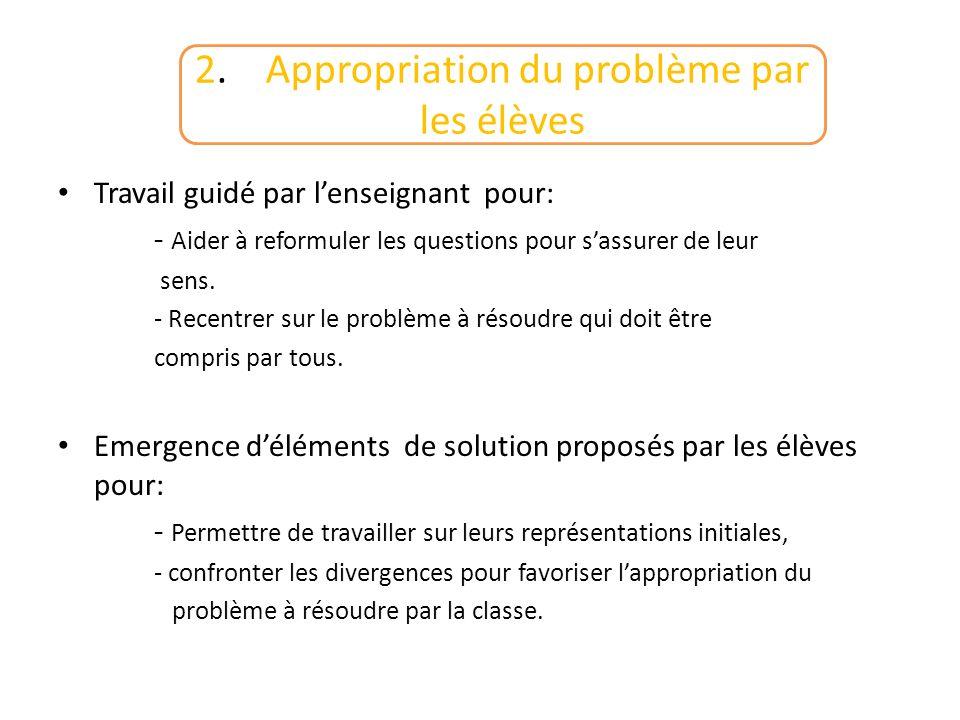 2. Appropriation du problème par les élèves
