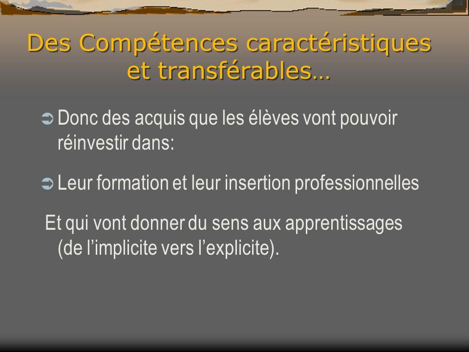 Des Compétences caractéristiques et transférables…