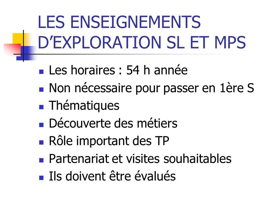LES ENSEIGNEMENTS D'EXPLORATION SL ET MPS