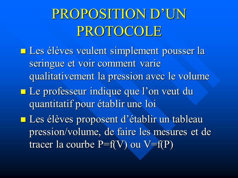 PROPOSITION D'UN PROTOCOLE