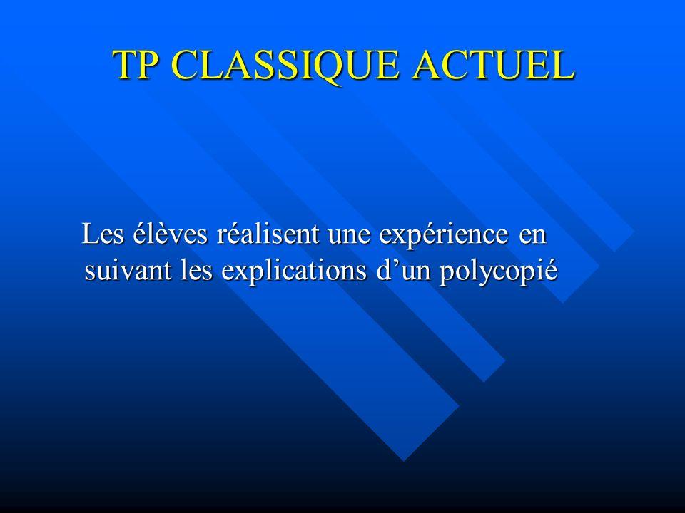 TP CLASSIQUE ACTUEL Les élèves réalisent une expérience en suivant les explications d'un polycopié