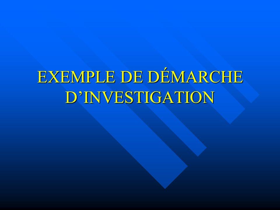 EXEMPLE DE DÉMARCHE D'INVESTIGATION