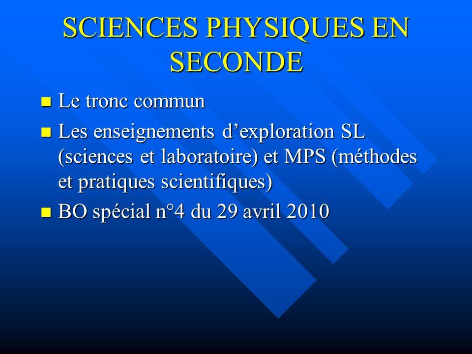SCIENCES PHYSIQUES EN SECONDE