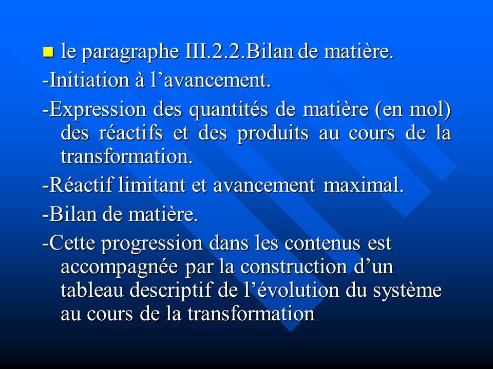 le paragraphe III.2.2.Bilan de matière.