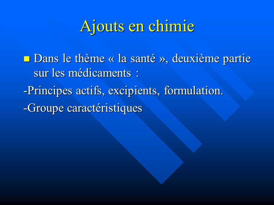 Ajouts en chimie Dans le thème « la santé », deuxième partie sur les médicaments : -Principes actifs, excipients, formulation.