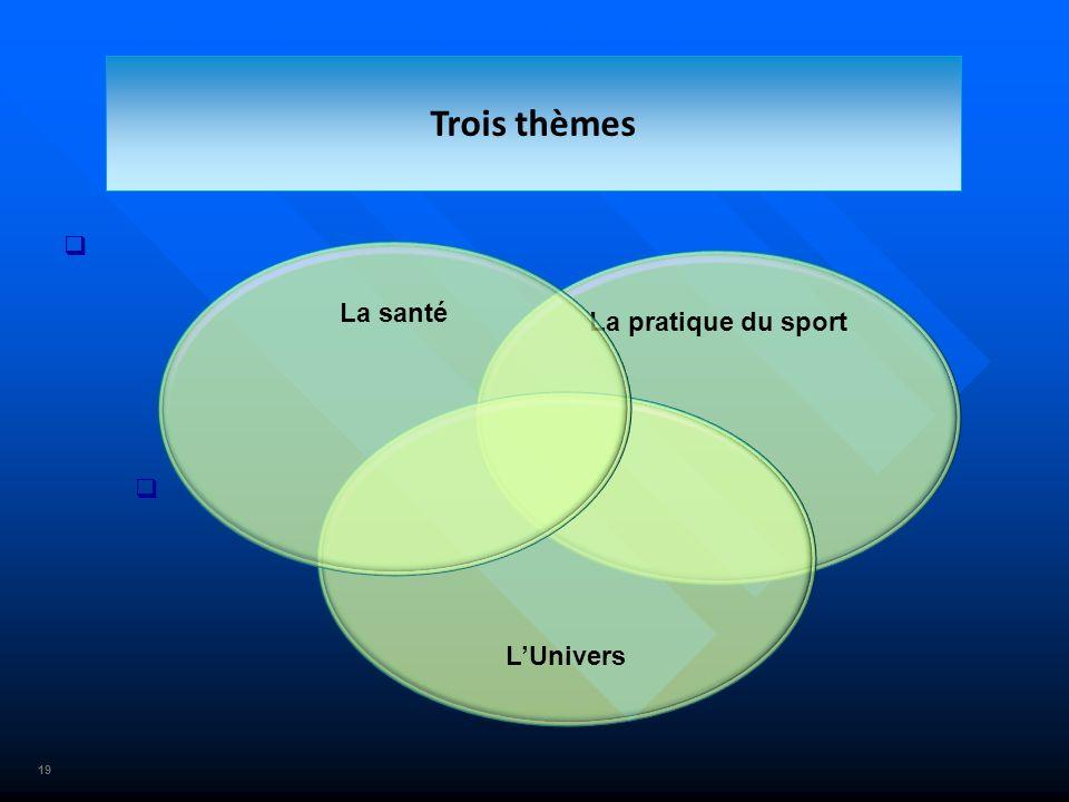 Trois thèmes La santé La pratique du sport L'Univers 19 19