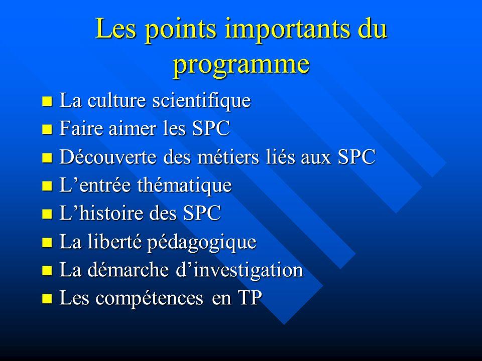 Les points importants du programme