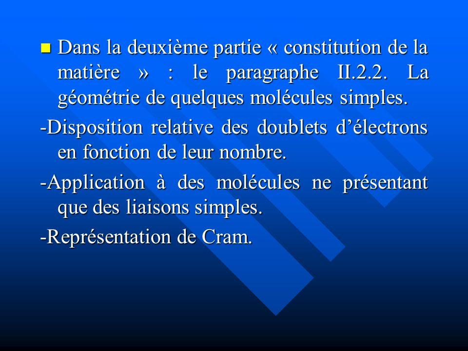 Dans la deuxième partie « constitution de la matière » : le paragraphe II.2.2. La géométrie de quelques molécules simples.