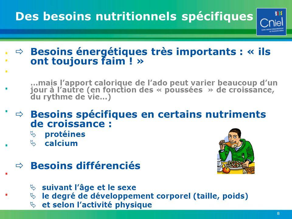 Des besoins nutritionnels spécifiques