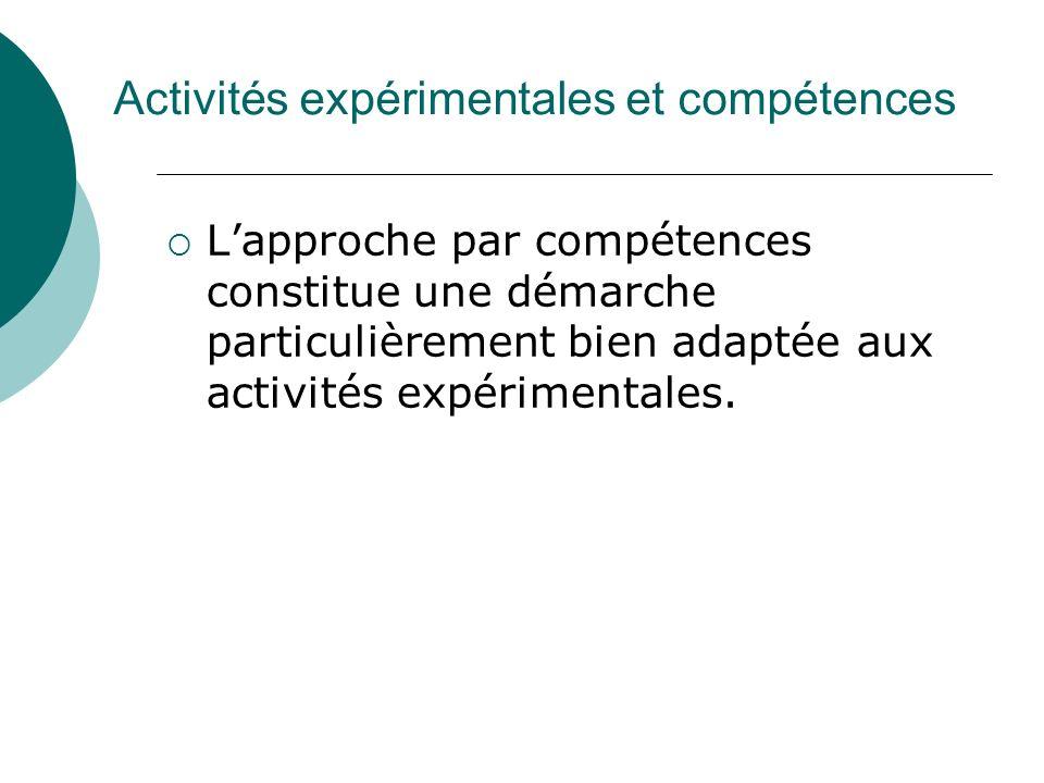Activités expérimentales et compétences