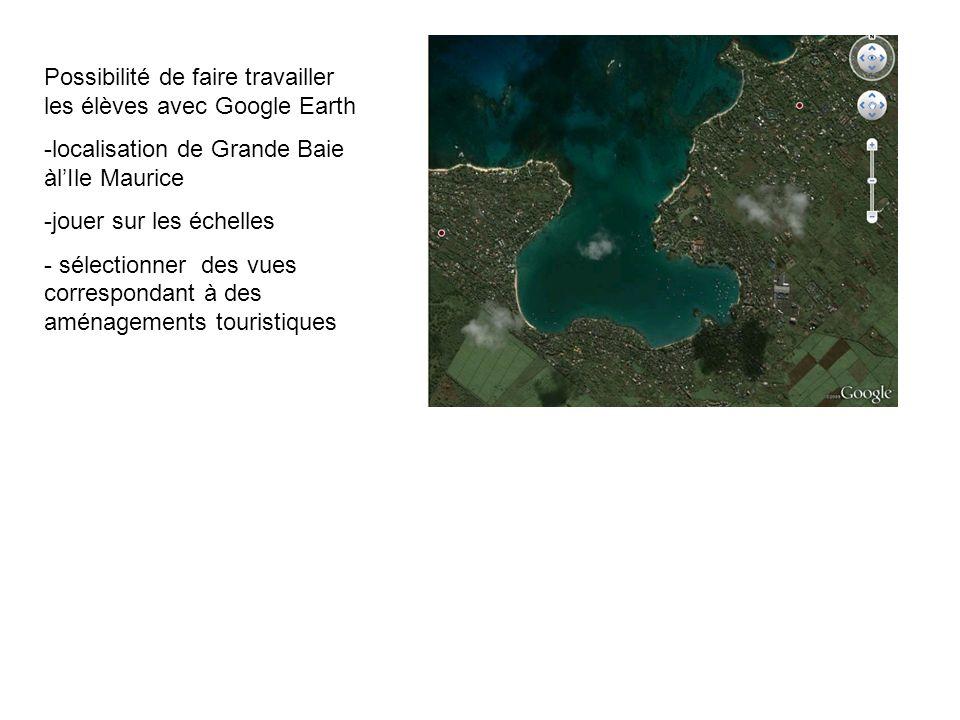 Possibilité de faire travailler les élèves avec Google Earth
