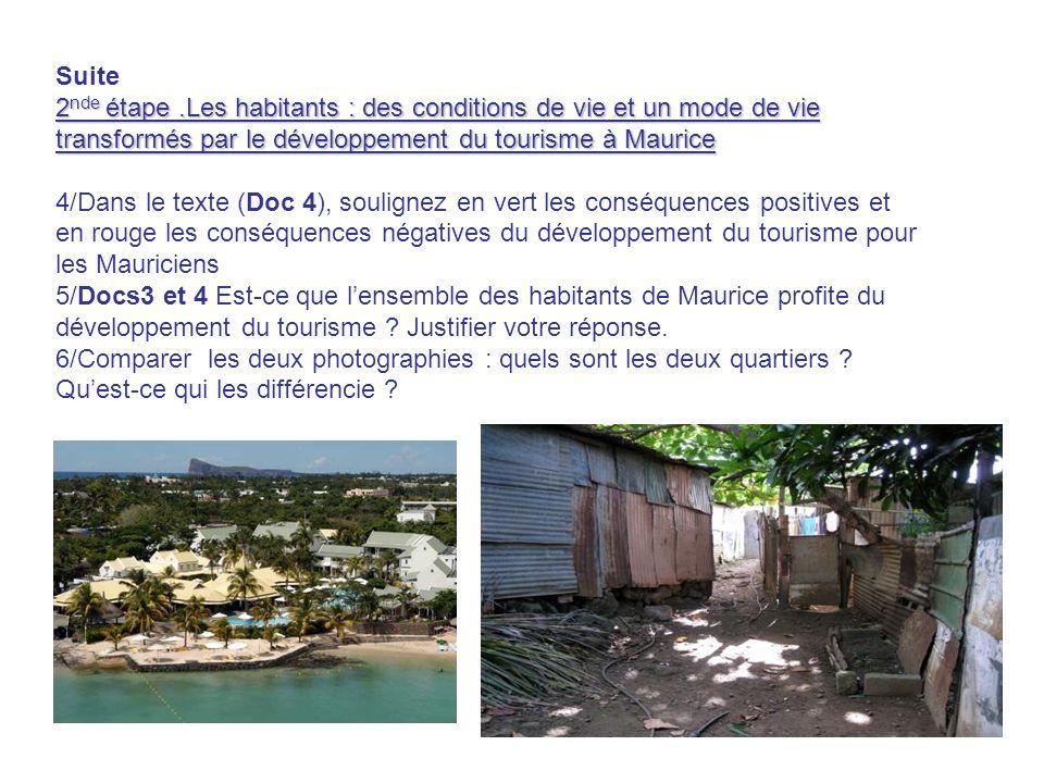Suite 2nde étape .Les habitants : des conditions de vie et un mode de vie transformés par le développement du tourisme à Maurice.