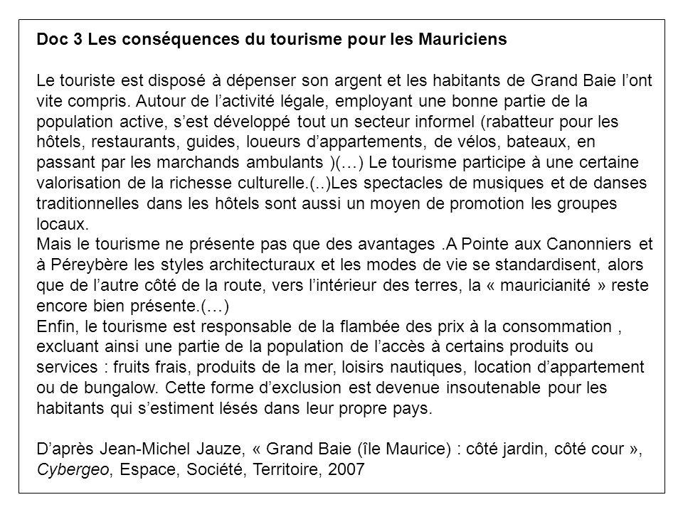 Doc 3 Les conséquences du tourisme pour les Mauriciens