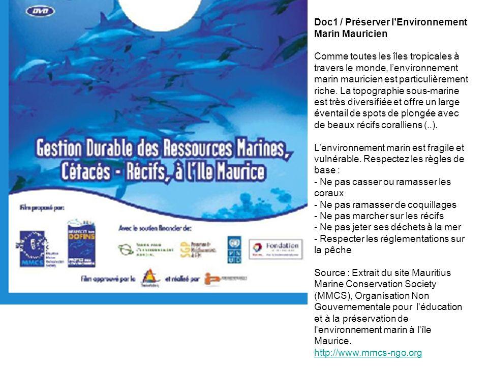 Doc1 / Préserver l'Environnement Marin Mauricien