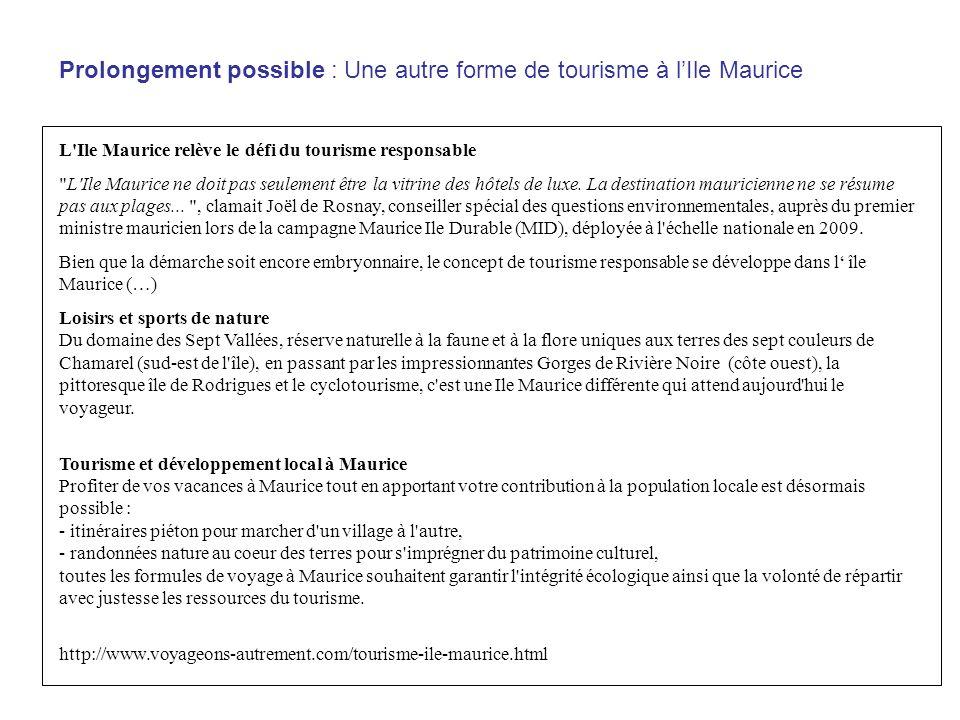 Prolongement possible : Une autre forme de tourisme à l'Ile Maurice