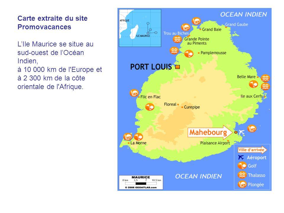 Carte extraite du site Promovacances