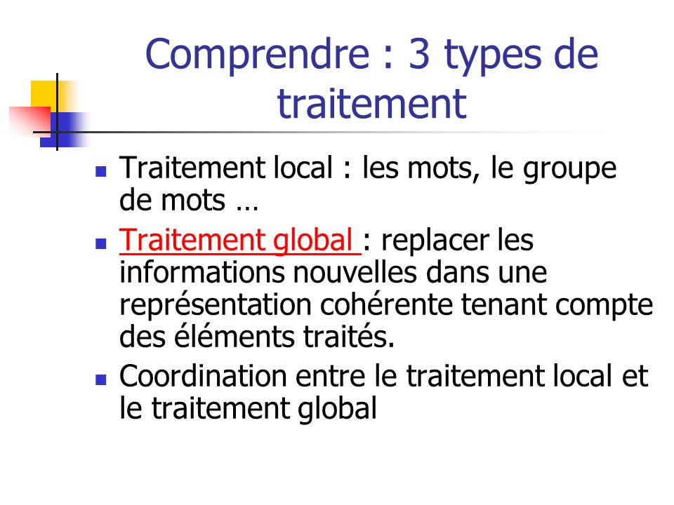 Comprendre : 3 types de traitement