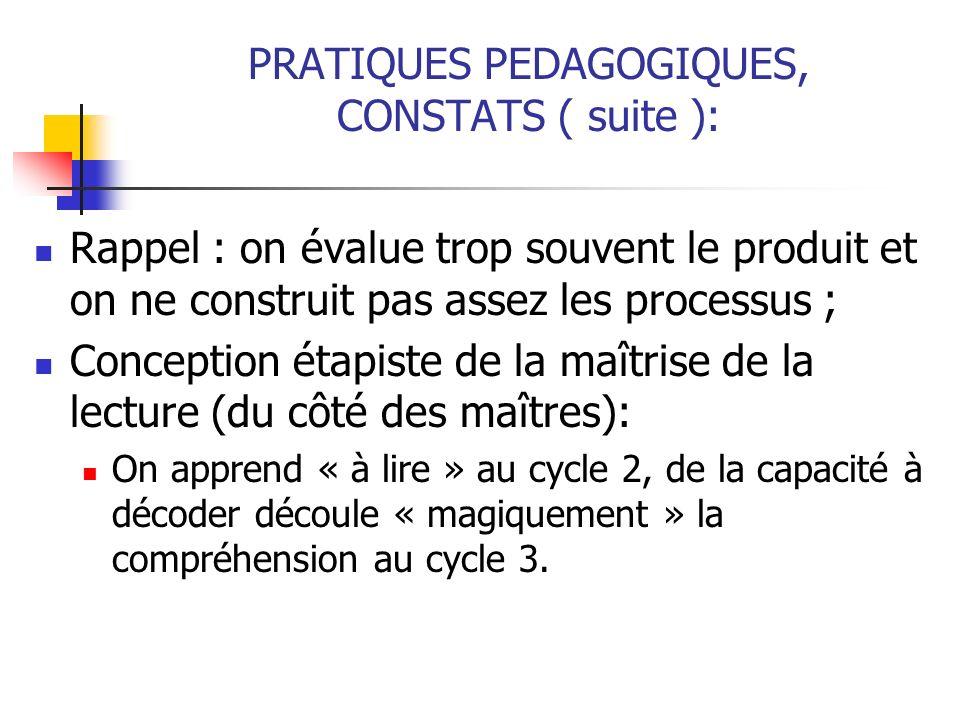 PRATIQUES PEDAGOGIQUES, CONSTATS ( suite ):