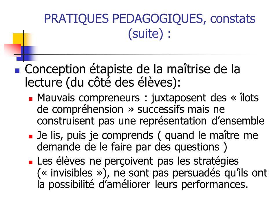 PRATIQUES PEDAGOGIQUES, constats (suite) :