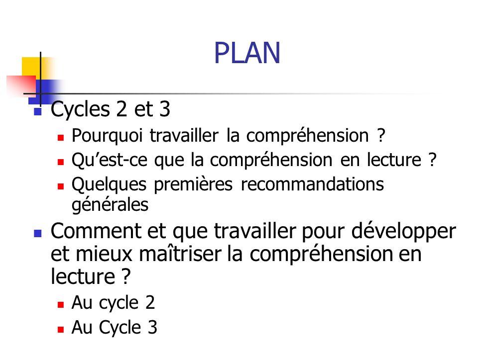 PLAN Cycles 2 et 3. Pourquoi travailler la compréhension Qu'est-ce que la compréhension en lecture