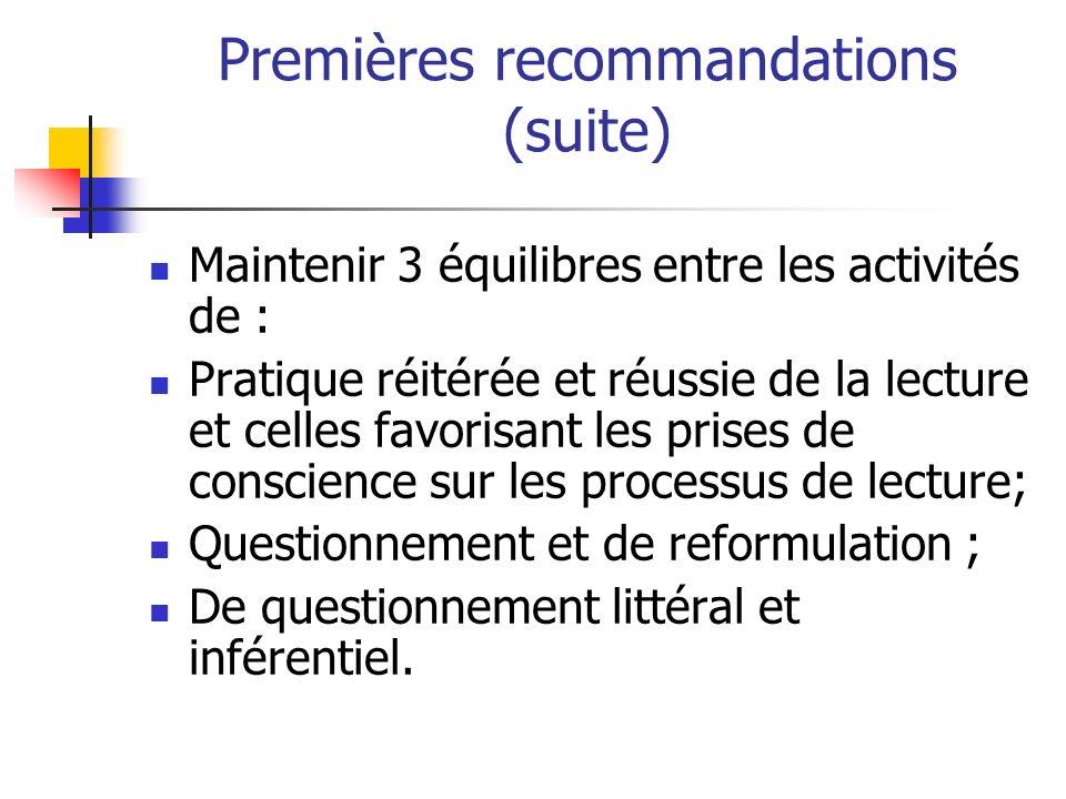 Premières recommandations (suite)
