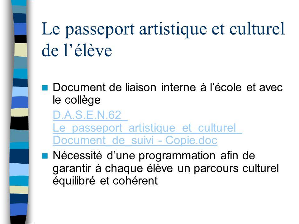 Le passeport artistique et culturel de l'élève