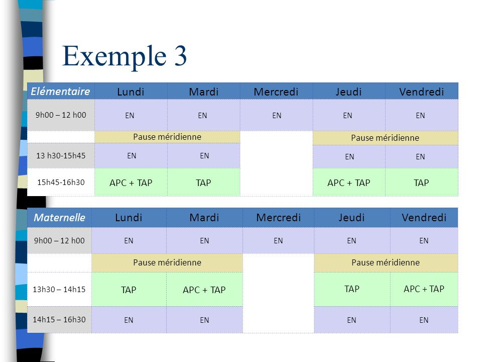 Exemple 3 Elémentaire Lundi Mardi Mercredi Jeudi Vendredi Lundi Mardi