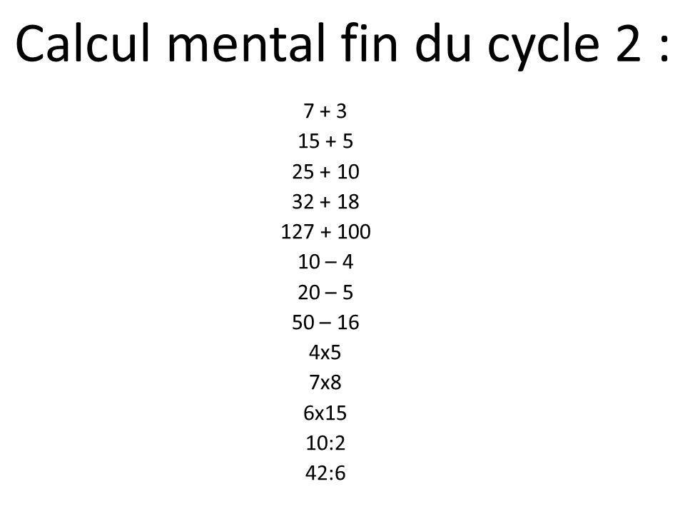 Calcul mental fin du cycle 2 :